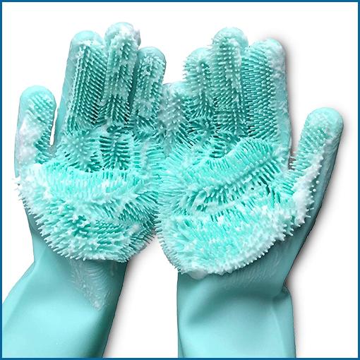 כפפות סיליקון לשטיפת כלים וניקיון כללי